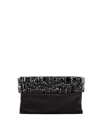 Raso Jeweled Pochette Bag, Black (Nero)