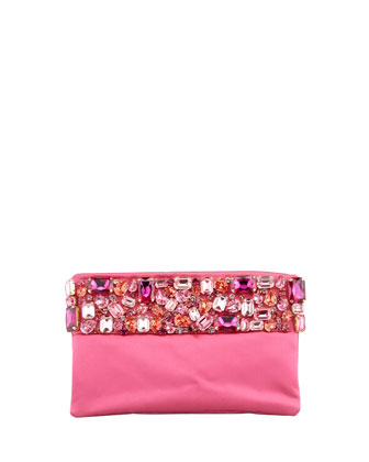 Raso Jeweled Pochette Bag, Pink