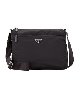 Vela Zip-Top Messenger Bag, Black (Nero)