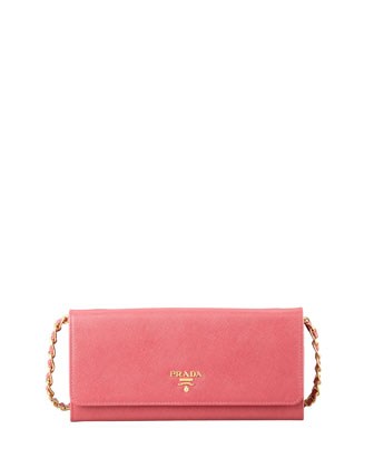 Saffiano Wallet on a Chain, Pink (Peonia)