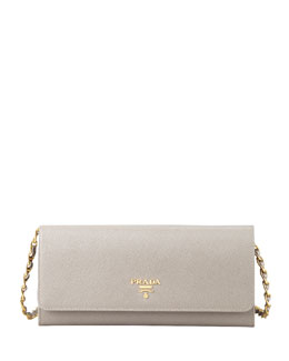 Prada Saffiano Wallet on a Chain, Gray