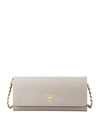 Saffiano Wallet on a Chain, Gray