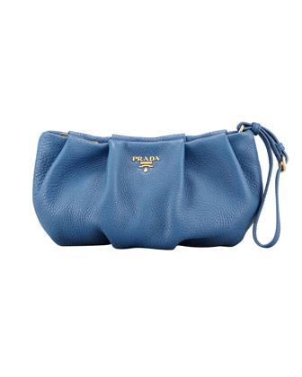 Daino Pleated Wristlet Clutch Bag, Blue