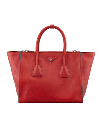 Glace Calf Twin Pocket Tote Bag, Red