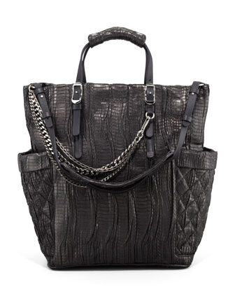 Blare Snakeskin Tote Bag, Black