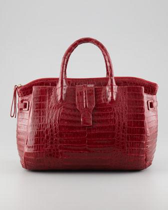 Medium Crocodile Tote Bag, Dark Red (Made to Order)