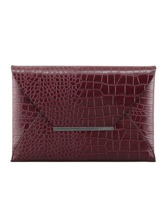 Crocodile-Embossed Envelope Clutch, Burgundy