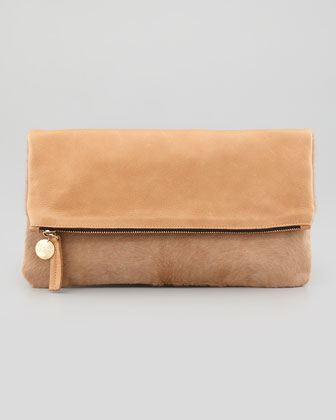 Supreme Calf-Hair Fold-Over Clutch, Tan