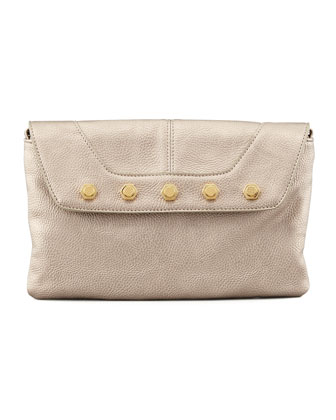 Rocco Stud-Flap Clutch Bag, Gold