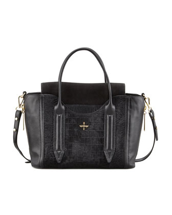 Provence Embossed Calf Hair & Leather Tote Bag, Black