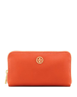 Tory Burch Robinson Zip Continental Wallet, Blood Orange