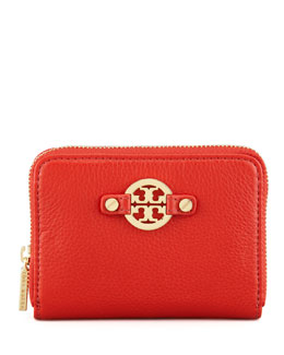 Tory Burch Amanda Zip-Around Coin Case, Red