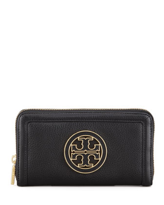 Amanda Continental Zip Wallet, Black