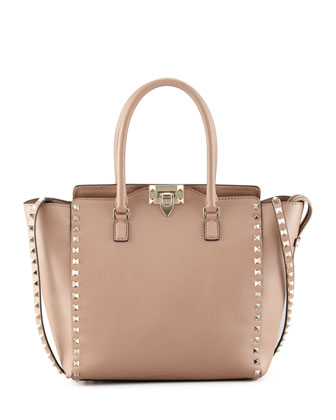 Rockstud Medium Shopper Tote, Tan