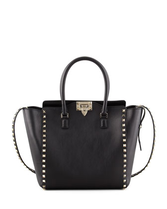 Rockstud Double-Handle Shoulder Tote Bag, Black