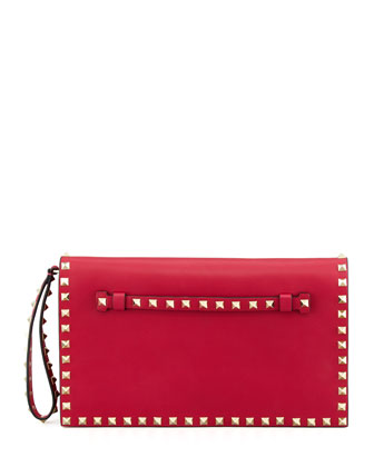 Rockstud All-Around Flap Wristlet Clutch Bag, Pink