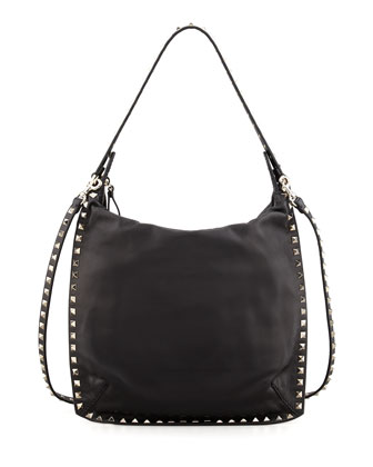 Rockstud All-Around Small Flat Hobo Bag, Black