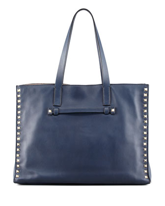 Rockstud Medium Shopping Tote Bag, Navy