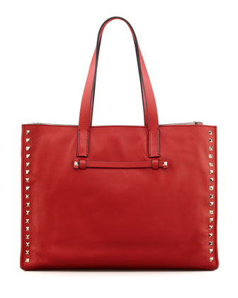 Rockstud Medium Shopping Tote Bag, Red