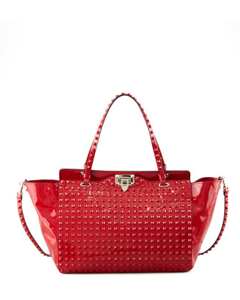 Punkouture Medium Allover Stud Patent Tote Bag, Red