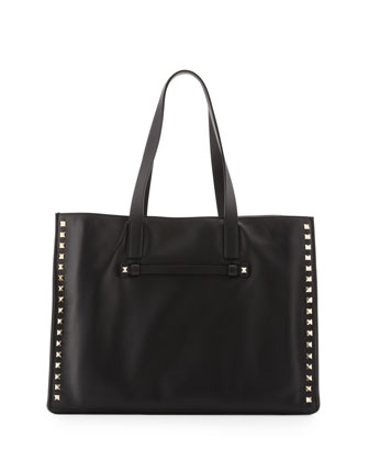 Rockstud Medium Shopping Tote Bag, Black