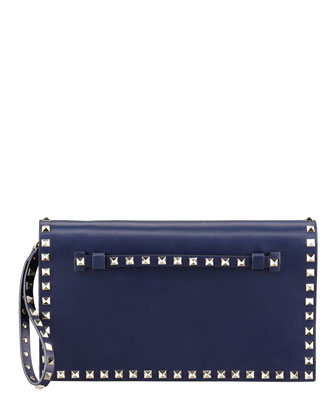 Rockstud Flap Clutch Bag, Blue