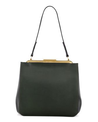 Bicolor Small Framed Shoulder Bag