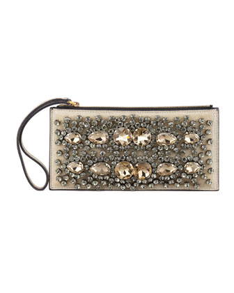 Crystal-Embroidered Wristlet Pochette
