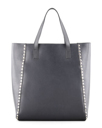 Studded Shopper Tote Bag, Deep Blue
