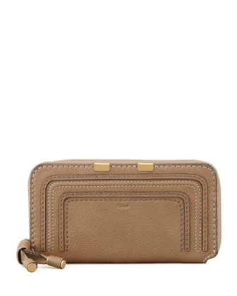 Marcie Continental Zip Wallet, Tan