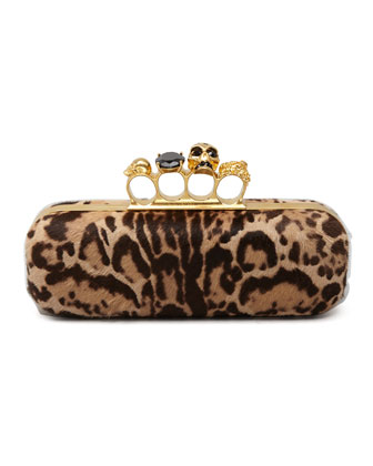 Leopard-Print Calf Hair Knuckle-Duster Box Clutch Bag