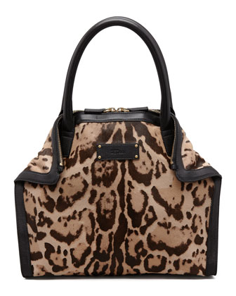 De-Manta Mini Leopard-Print Calf Hair Tote Bag