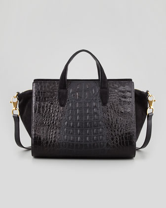 Pelican Gold Crocodile-Embossed Satchel Bag, Black