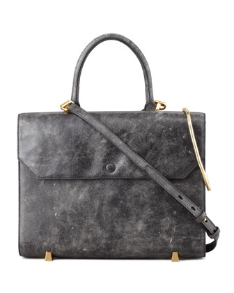 Chastity Gold Sling Satchel Bag, Black/White