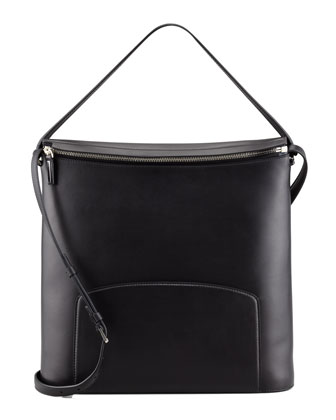 Leather Crossbody Bag, Black
