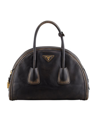 Vintage Vitello Bowler Bag, Black