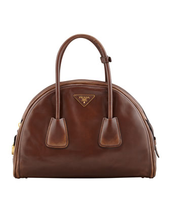 Vintage Vitello Bowler Bag, Brown