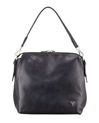 Soft Calf Open Domed Hobo Bag, Black