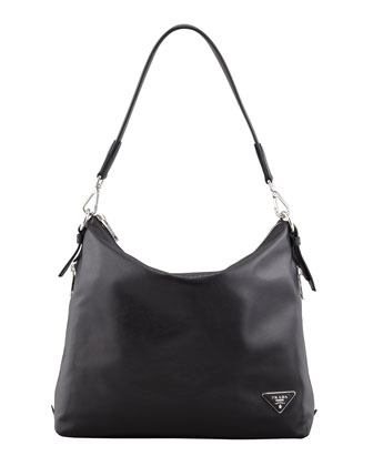 Soft Calf Zip-Top Hobo Bag, Black