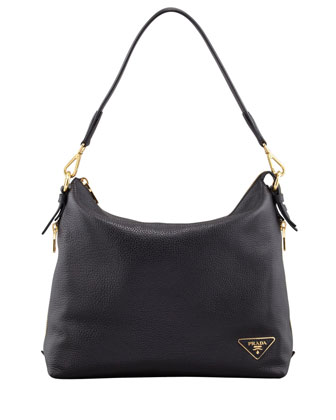 Daino Zip-Top Zip-Side Hobo Bag, Black