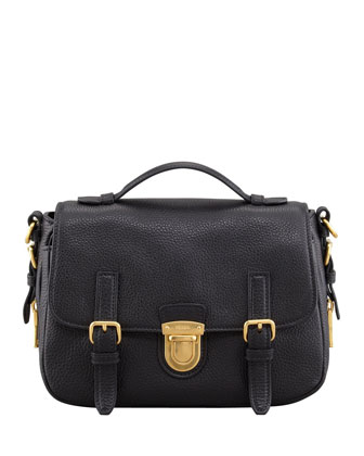 Daino Flap-Lock Messenger Bag, Black (Nero)