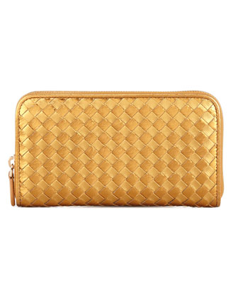 Leather & Snake Woven Zip-Around Wallet, Gold