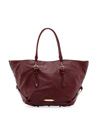 Adjustable-Handle Leather Tote Bag, Wine