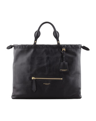 Drawstring Leather Satchel Bag, Black