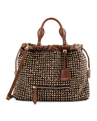 Studded Leopard-Print Satchel Bag