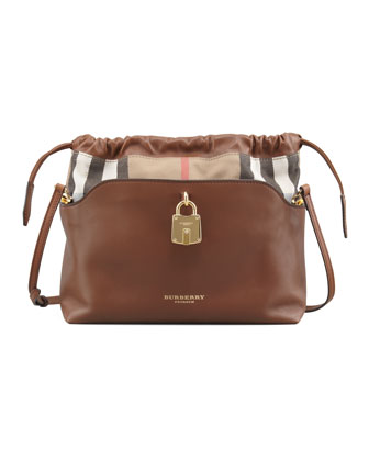 Drawstring Check Crossbody Bag, Brown