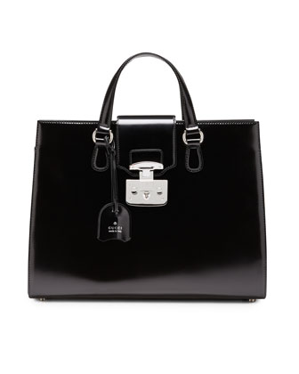 Lady Lock Leather Tote, Black