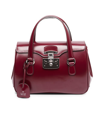 Lady Lock Leather Top Handle Bag, Wine