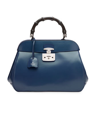 Lady Lock Leather Large Top Handle Bag, Blue
