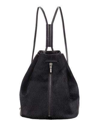 Calf Hair Drawstring Backpack